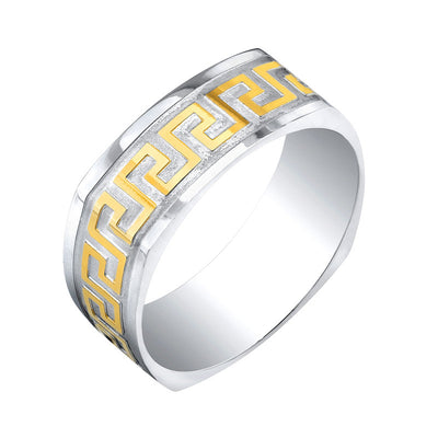 Lazer Stainless Steel Two Tone Greek Key Square Ring