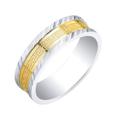 Lazer Stainless Steel Two Tone Greek Key 7mm Ring