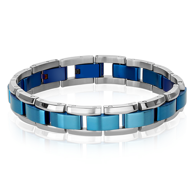 ITALGEM STEEL MATE BLUE-S.STEEL CENTER-LINK POLISH-EDGES BRACELET