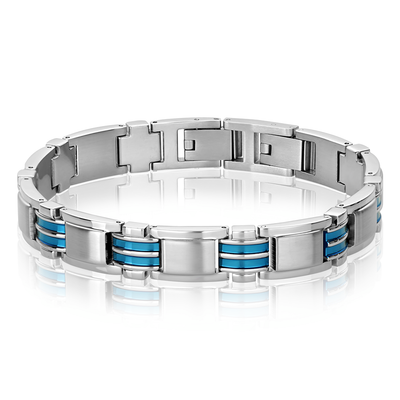 ITALGEM STEEL MATTE-S.STEEL BLUE-IP POLISHED LINK BRACELET
