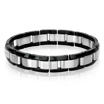 ITALGEM STEEL BRUSHED S.STEEL-CENTER BLACK-IP EDGES-LINK BRACELET