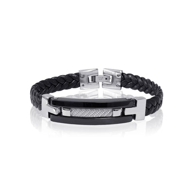 WHITE CARBON FIBER ID-PLATE BLACK LEATHER BRACELET