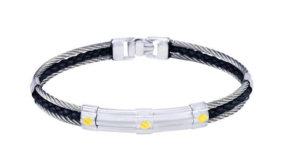 ITALGEM STEEL CABLE AND BLACK LEATHER 18 K YELLOW GOLD BRACELET