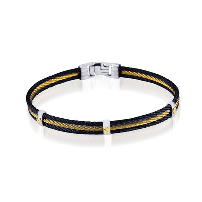 BLACK YELLOW 3-ROW CABLE BRACELET