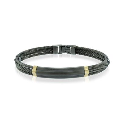 BLACK CABLE 18K GOLD BRACELET