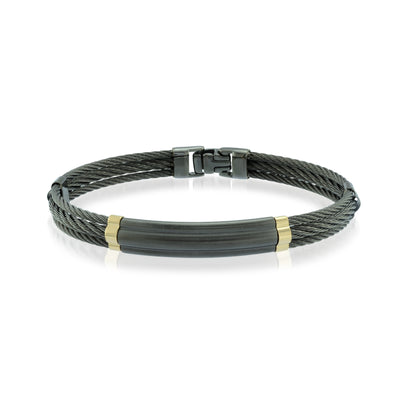 18K BLACK-IP 3-ROW CABLE BRACELET