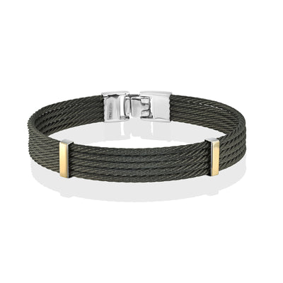 ITALGEM STEEl BLACK CABLE AND 18K YELLOW GOLD BRACELET