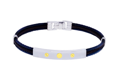 18K NAVY 3-ROW CABLE BROWN LEATHER BRACELET