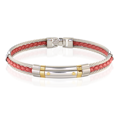 18K 2-ROW CABLE RED LEATHER BRACELET