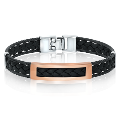 ITALGEM STEEL BLACK CABLE LEATHER AND 18 K ROSE GOLD BRACELET