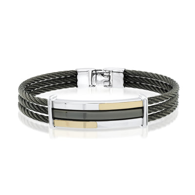 18K BLACK-IP STEEL 3-ROW CABLE BRACELET