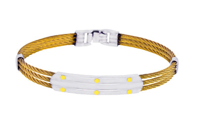 18K YELLOW S.STEEL 3-ROW CABLE BRACELET