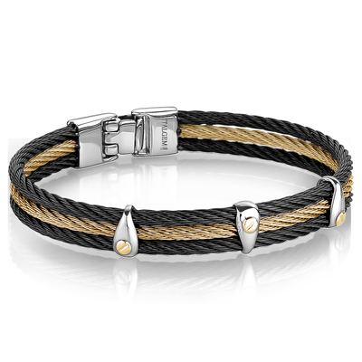 18K-YELLOWGOLD CENTER-BLACK 3-ROW CABLE BRACELET