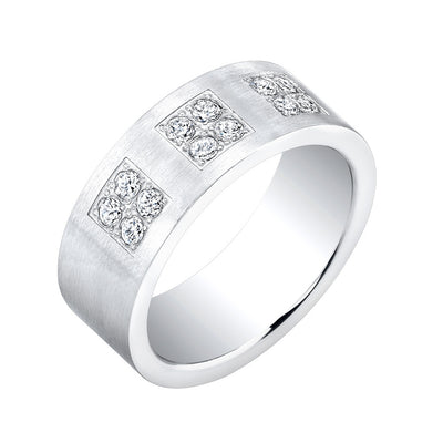 Stainless Steel Matte Classico Ring with Cubic Zirconia