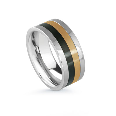 ITALGEM STEEL STAINLESS STEEL BLACK-IP YELLOW-IP SPINNER-RING