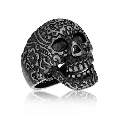 GUNMETAL STEEL BADASS SKULL RING