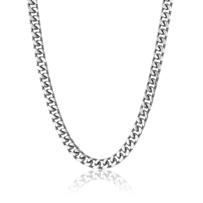 ITALGEM STEEL S.STEEL 10 MM-POLISHED 6-SIDE CURB-LINK NECKLACE