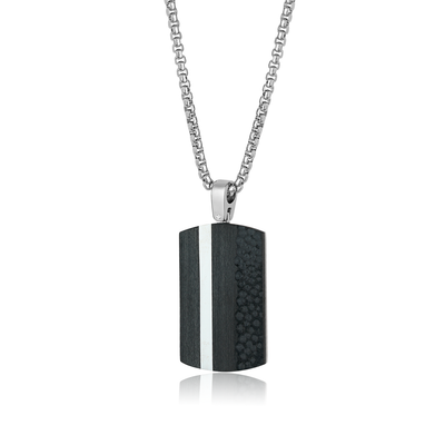ITALGM STEEL S.STEEL CARBON-FIBER VERTICAL-LINE DOG TAG -NECKLACE