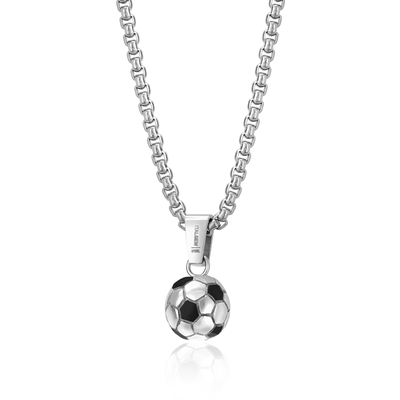 BLACK-IP MIX SOCCER BALL PENDANT NECKLACE