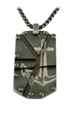ITALGEM STEEL GUN-IP-S.STEEL ANCHOR DOGTAG ROUND-BOX NECKLACE