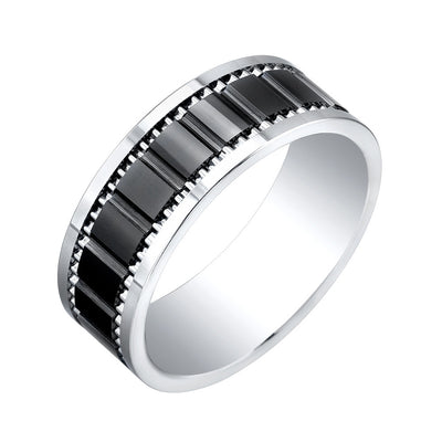 ITALGEM STEEL SUPER TITANIUM - TUNGSTEN WITH BLACK CERAMIC CENTER 8 MM BAND