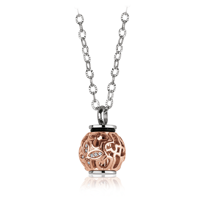 ROSE-IP BUTTERFLY CUBIC ZIRCONIA URN PENDANT NECKLACE
