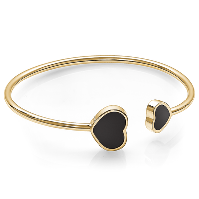 GOLD-IP BLACK ENAMEL DOUBLE HEARTS LADIES CUFF