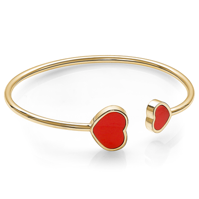 GOLD-IP RED ENAMEL DOUBLE HEARTS LADIES CUFF