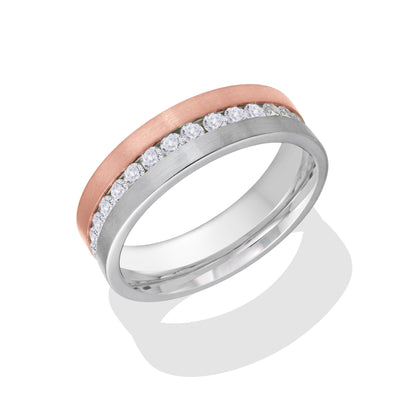 ITALGEM STEEL ROSE-IP BRUSH-S.STEEL WHITE-CZ FULL-ETERNITY RING