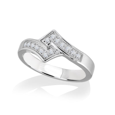 ITALGEM STEEL S.STEEL WHITE-CZ INTERLOCK-DESIGN RING