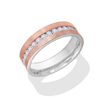 ITALGEM STEEL ROSE-IP-FLAT BRUSH-S.STEEL WHITE-CZ FULL-ETERNITY RING