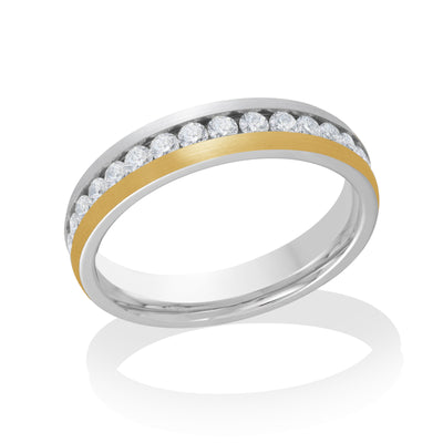ITALGEM STEEL YELLOW-IP-ROUNDED BRUSH-S.STEEL WHITE-CZ FULL-ETERNITY RING