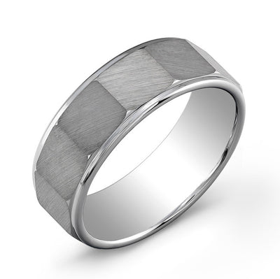 ITALGEM STEEL TUNGSTEN CARBIDE - BRUSHED OCTAGON 8 MM BAND