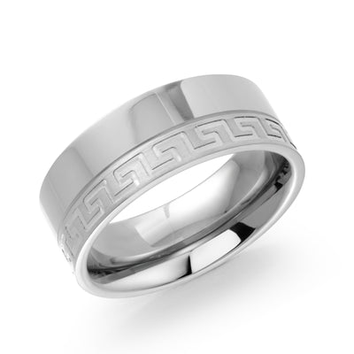 ITALGEM STEEL INFINITY TITANIUM GREEK-KEY 8MM-BAND