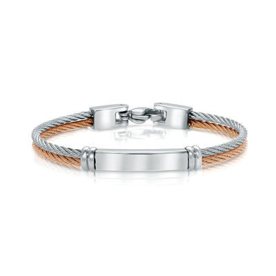 ITALGEM STEEL 1-ROW-STEEL 1-ROW-ROSE S.STEEL ID-PLATE BABY CABLE BANGLE