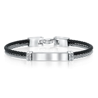 BLACK-WHITE DOUBLE-ROW CABLE KIDS-BANGLE