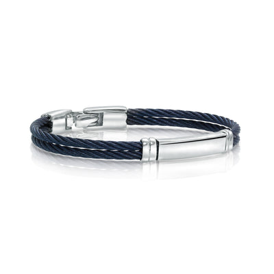 ITALGEM STEEL BLUE-IP-S.STEEL DOUBLE-ROW ID-PLATE BABY-CABLE BANGLE