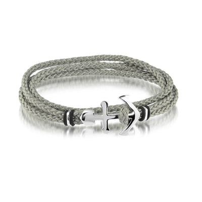 ANCHOR CLASP GREY CORD BRACELET