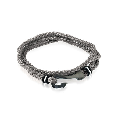 BLACK HOOK GREY CORD BRACELET