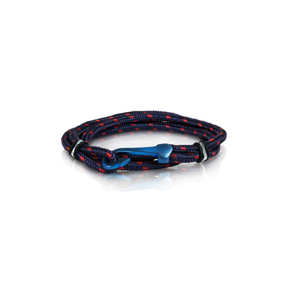 BLUE HOOK-CLASP RED-BLUE-CORD BRACELET