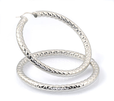 Stainless Steel Twisted 50mm Hoop Earrings