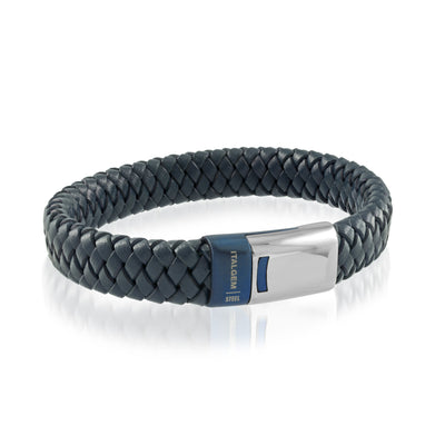 ITALGEM STEEL 12MM-BLUE LEATHER BRACELET