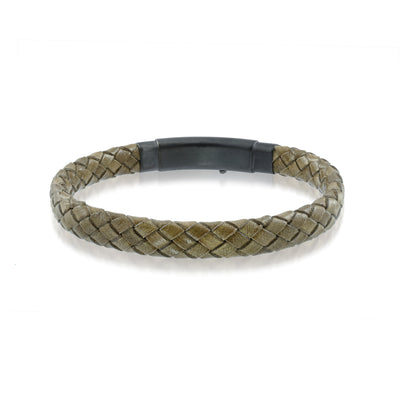 ITALGEM STEEL BLACK-CAMEL-LEATHER BRACELET