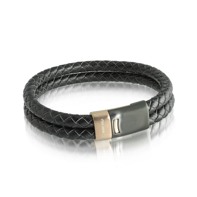 ROSE-BLACK-CLASP BLACK LEATHER BRACELET
