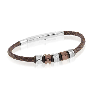 ITALGEM STEEL BROWN LEATHER ADJUSTABLE BRACELET