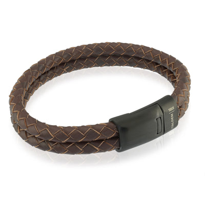 ITALGEM STEEL BLACK MATE  BROWN-LEATHER 2-STRAND BRACELET