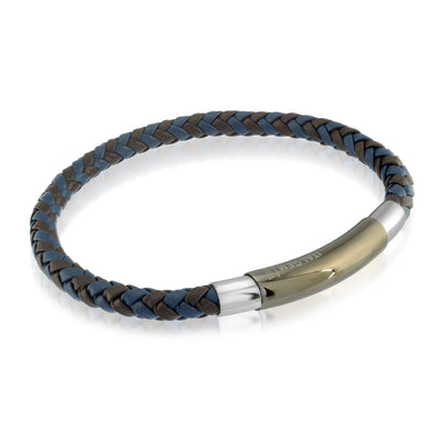 GUN-IP BROWN-BLUE LEATHER BRACELET