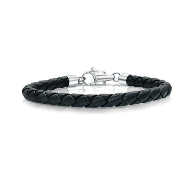DESIGNER CLASP BLACK LEATHER BRACELET