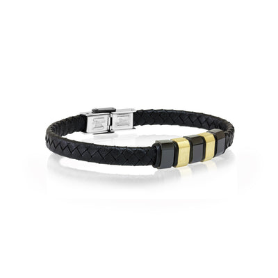 GOLD IP BLACK LEATHER BRACELET