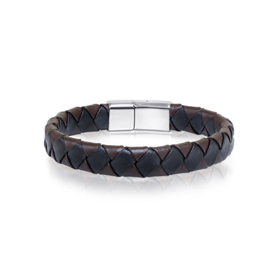 SIDEWAY CLASP BLACK-BROWN LEATHER BRACELET